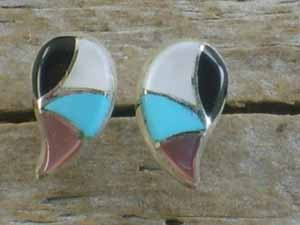 Zuni Inlay Earrings- Raindrop