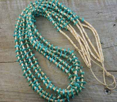 Native American Turquoise & Shell Multi-Strand