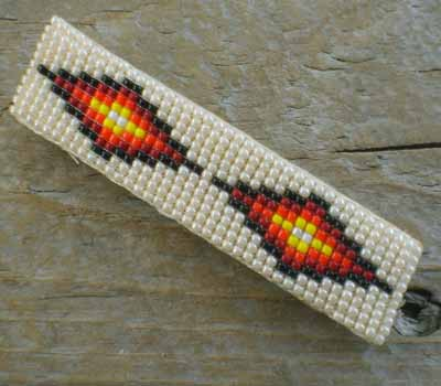 Native American Beaded Barrette -Cream