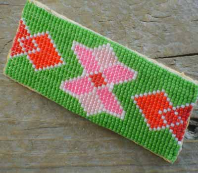 Native American Beaded Barrette - Green Large