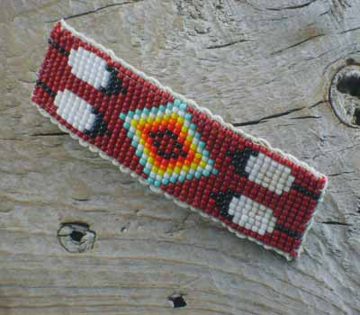 Native American Beaded Barrette - Brick Red Large