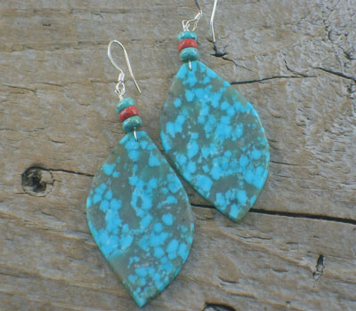 Turquoise Earrings Native American Slab Earrings Blue
