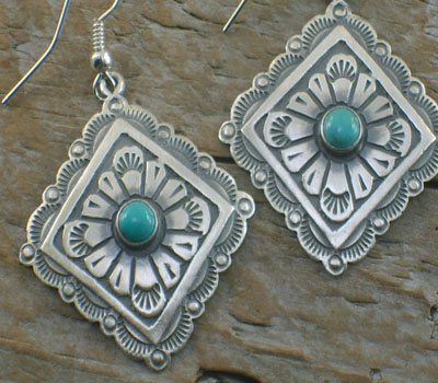 Native American Silver Jewelry-  Concha Earrings