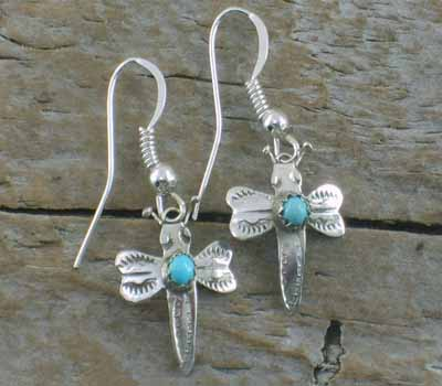 Native American Earrings Sterling Butterfly Turquoise