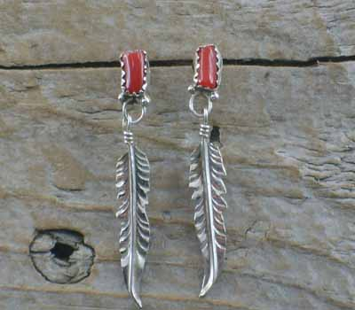Native American Earrings Sterling Feather Coral