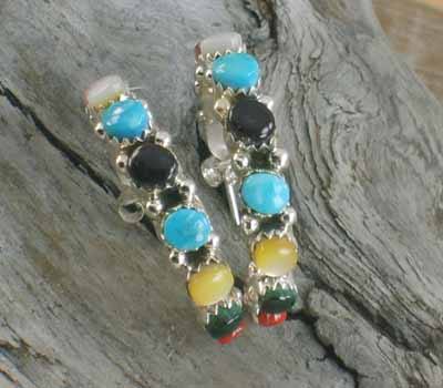 Indian Multi- Stone Hoop Earrings