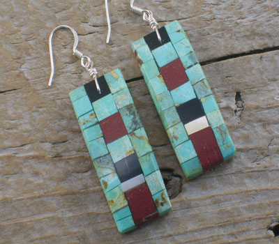 Earrings Native American Inlay Mosaic Tiles Long -B