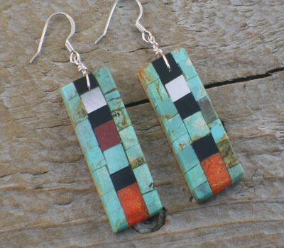Earrings Native American Inlay Mosaic Tiles Long -C