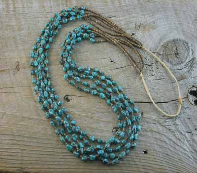 Necklace Native American Santo Domingo 5- Strand Turq & Pen