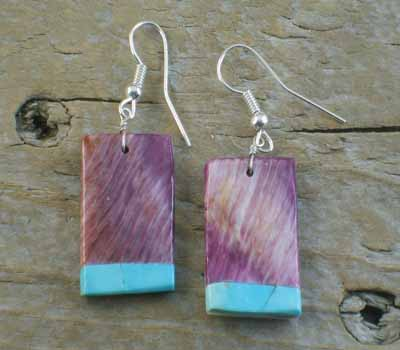 Native American Purple Spiney Slab Earrings  w/ Turquoise Inlay B