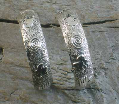 Silver Petroglyph Hoop Earrings