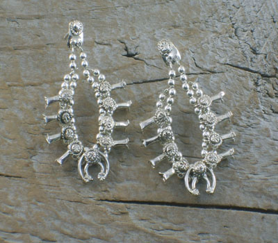 Native American Earrings Sterling Squash Blossoms