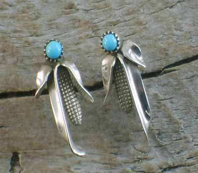 Corn Husk w/ Turquoise Earrings