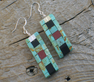 Earrings Native American Inlay Mosaic Tiles Long -D