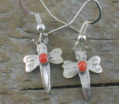 Native American Earrings Sterling Butterfly Coral