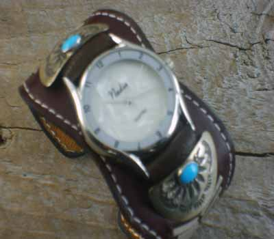 Native American Leather Cuff Watch