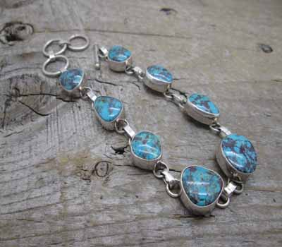 Native American Jewelry Link Bracelet Turquoise