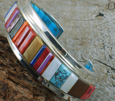 Native American Braclet (Dual Sided) Channel Inlay sz- 6 1/8""