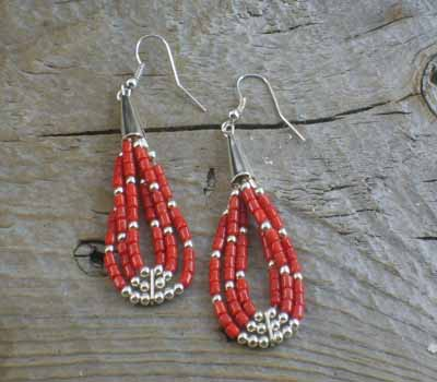 Native American Earrings Coral Heishi Earrings B