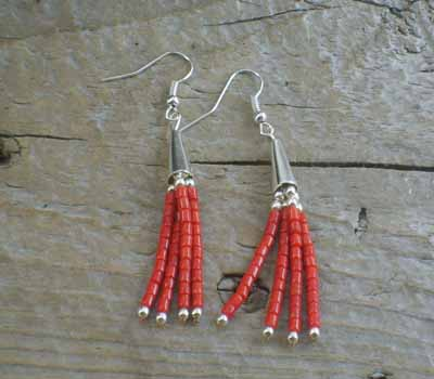 Native American Earrings Coral Dangle
