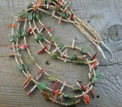 Native American Necklace Melon Shell, Spiny, Turquoise 3-Strand