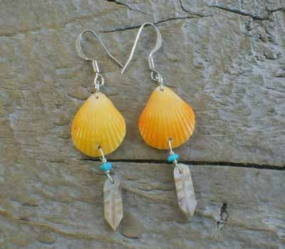 Indian carved Feather  Warshield Earrings