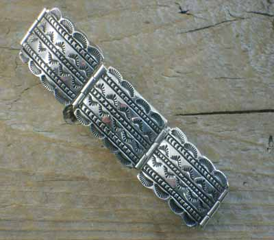 American Indian Sterling Silver Link Bracelet - Stamped