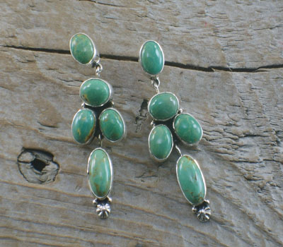 Native American Turquoise Sterling Grape Design Earrings