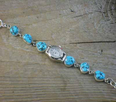 Sterling Silver Turquoise Link Watch