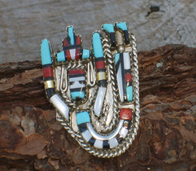 Native American Ring Zuni Inlay- sz 5 1/2