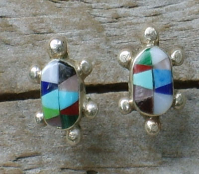Native American Turtle Multi-Stone Inlay Earrings - Zuni