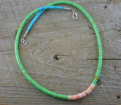 Necklace Native American Turquoise & Melon Shell Santo A