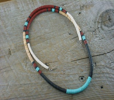 Necklace Santo Domingo Heishi Turquoise & Jet C