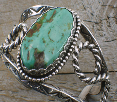 Native American Turquoise Cuff Bracelet & Sterling-sz 7 3/4