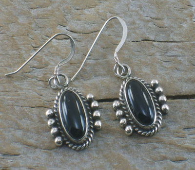 Native American Onyx Dangle Earrings