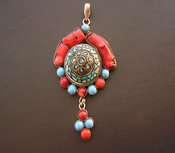 Pendant Turquoise & Coral XL