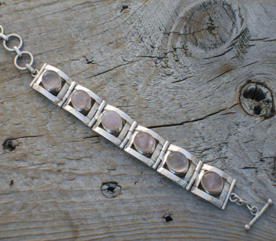 Sterling Silver and Pink Quartz Bracelet