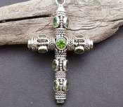 Pendant Sterling Silver Cross with Peridot Gemstones