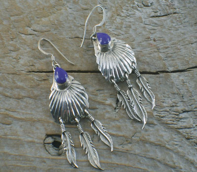 Native American Feather Dangle Earrings
