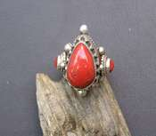 Tibetan Red Coral Ring - Teardrop - sz 9