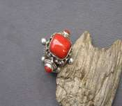 Tibetan Ring Red Coral  - Square - sz 9