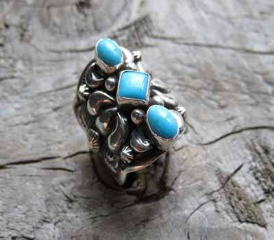 Ring Sleeping Beauty Darryl Becenti Turquoise sz 8.25