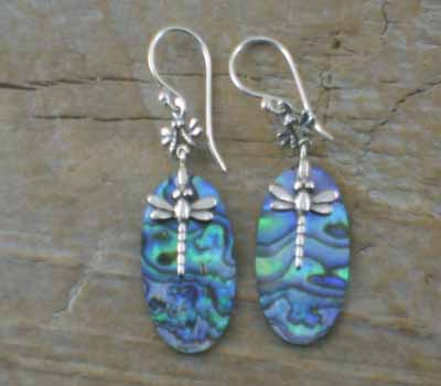 Paua Shell Earrings Sterling Dragonfly