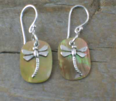 Tan Shell Earrings Sterling Dragonfly