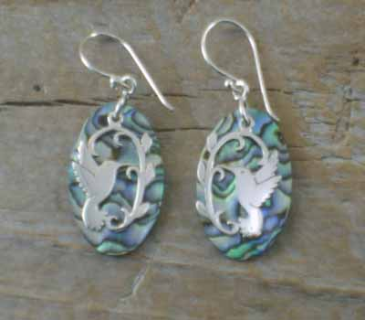 Paua Shell Earrings Sterling Hummingbird