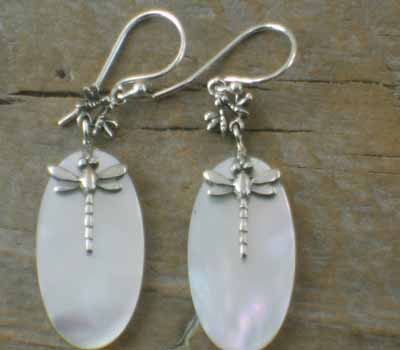 MOP Shell Earrings Sterling Silver Dragonfly
