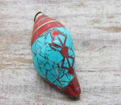 Turquoise & Coral Inlay Shell Pendant Large