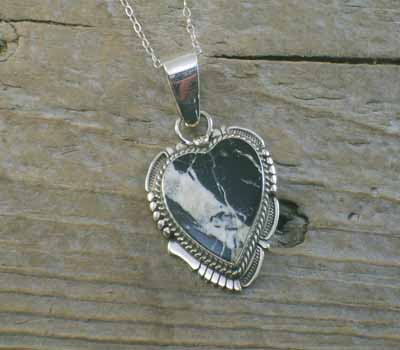 White Buffalo Heart Pendant and  Chain
