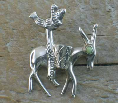 Turquoise and Silver Donkey Pin