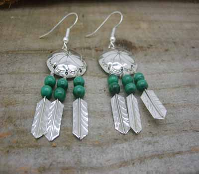 American Indian Silver War Shield Earrings Malachite